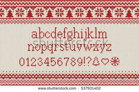 knitting pattern fonts christmas font knitted latin alphabet on stock vector