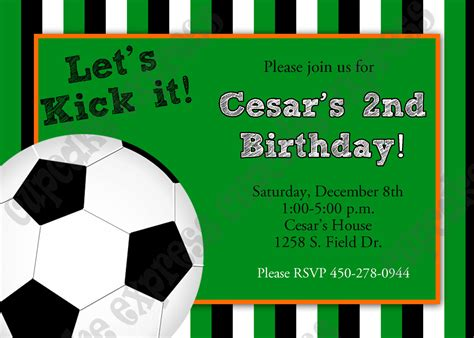 diy soccer birthday party printable invitation 5x7 green