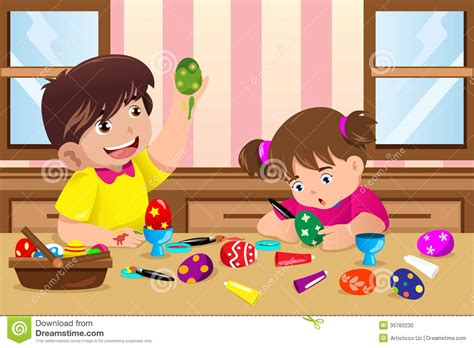 painting child painting easter eggs stock vector image of