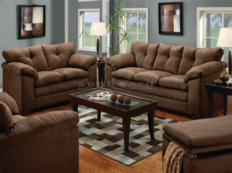 living room furniture collection luna chocolate microfiber sofa and loveseat set 6565
