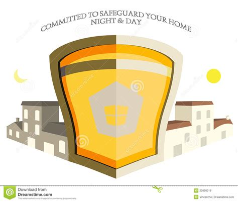 home property security shield logo illustration royalty