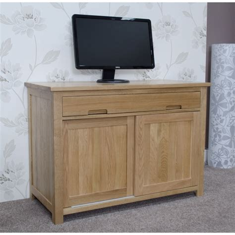 Home Office Furniture Oak Eton Solid Oak Furniture Home Office Pc Hideaway Computer Desk Ebay