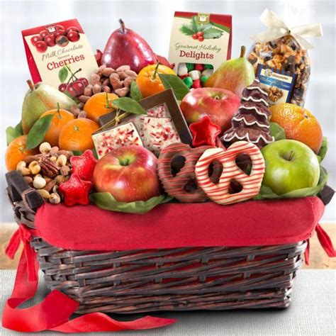 holiday chocolate nuts and fresh fruit gift basket