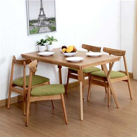 small apartment dining table solid wood furniture modern minimalist white oak long