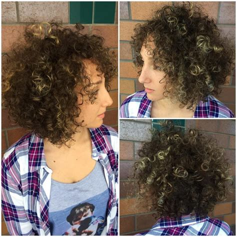 bouncy curly layered instruction haircuts women s brunette layered bob with bouncy corkscrew curls
