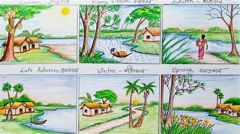 six seasons how to draw scenery of six season step by step youtube