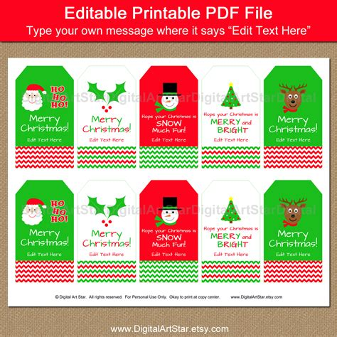printable and editable christmas gift tags digital art star printable party decor printable