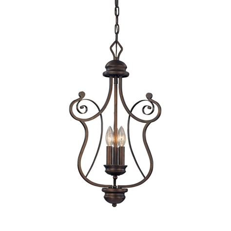 Candle Pendant Lighting Millennium Lighting 3 Light Rubbed Bronze Candle Pendant 1153 Rbz The Home Depot