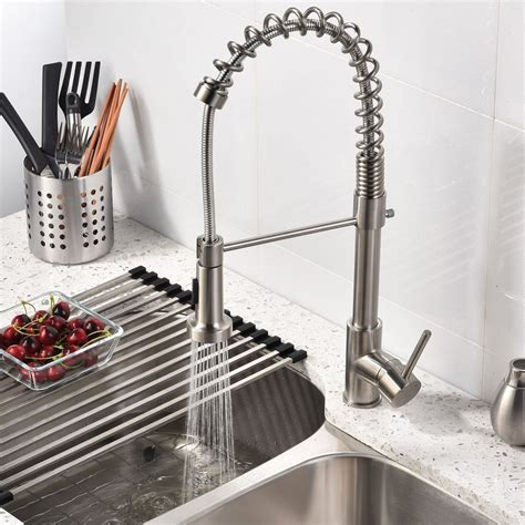 brushed nickel faucets kitchen brushed nickel kitchen sink faucet with pull sprayer