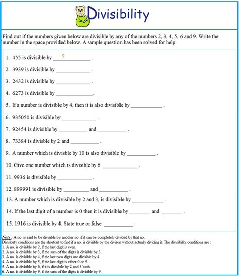 Divisibility Worksheets worksheet on divisibility test