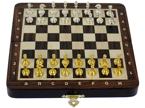 rosewood travel magnetic chess set 9 quot folding metal chess pieces notations ebay