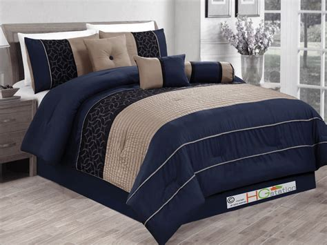 navy blue king size comforter sets 7 pc embroidered medallion geometric comforter set navy blue black khaki king ebay