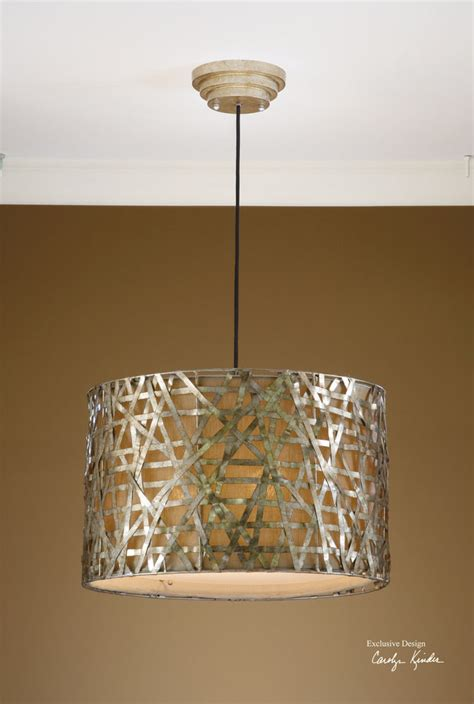 Fabric Light Fixtures Aged Silver Leaf Metal Hanging Pendant Chandelier Light Fixture Fabric Shade Ebay