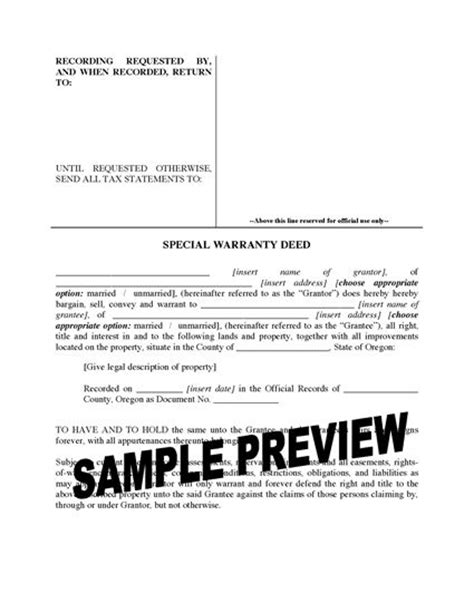 special warranty deed oregon special warranty deed forms and business