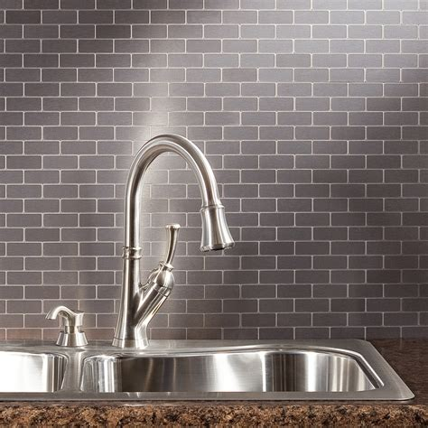 peel stick backsplash aspect matted peel stick metal backsplash tiles named to