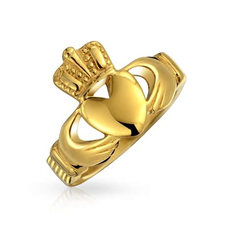 celtic claddagh ring gold plated stainless steel