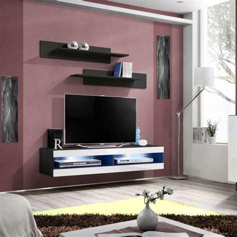 Meuble Tv Mural Blanc by Meuble Tv Mural Design Quot Fly Ii Quot 160cm Blanc Noir