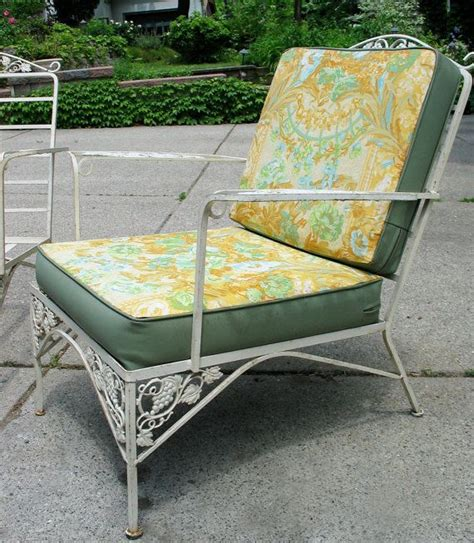 vintage woodard iron patio set sofa pair chairs mid