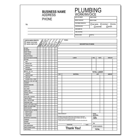 plumbing sheet template plumbing contractor invoice forms work order designsnprint