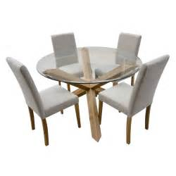 Dining Table And 4 Chairs Hton Oak 120cm Glass Dining Table With 4 Chairs Ebay