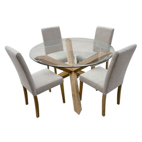 4 Chairs Dining Table Hton Oak 120cm Glass Dining Table With 4 Chairs Ebay