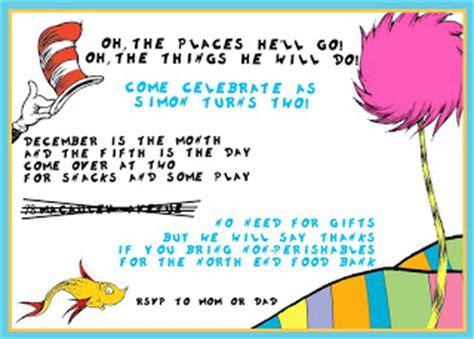 wording for birthday invitations no gifts pug birthday dr seuss