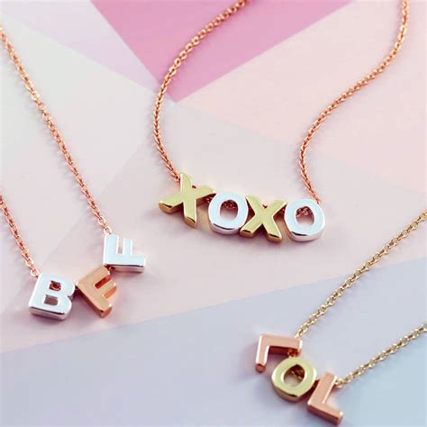 Letter Necklace Not On The High Mixed Metal Mini Letter Necklace By J S Jewellery