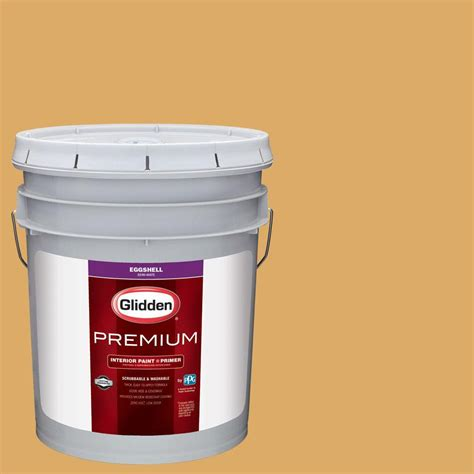 glidden premium 5 gal hdgy14 warm gold semi gloss interior paint with primer hdgy14p 05sn