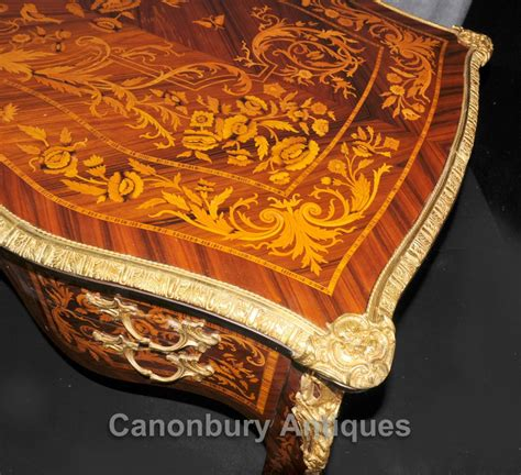 french louis xvi bureau plat desk writing table marquetry inlay