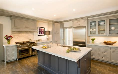 Gray crown molding kitchen traditional with painted