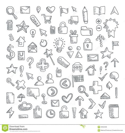doodle icons free vector vector doodle icons set
