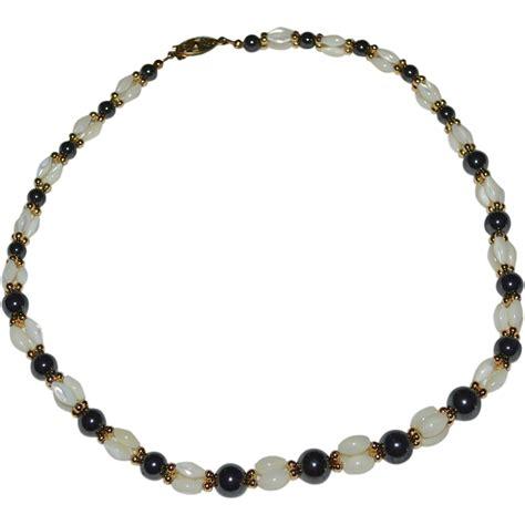 pearl bead necklace beautiful black hematite of pearl rice bead