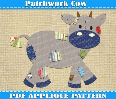 Patchwork Cow - patchwork cow applique pattern template pdf by