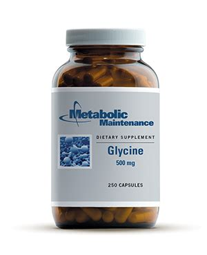 Glycine Liver Detox by Glycine 500mg 250 Capsules Metabolic Maintenance