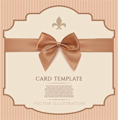 bow card template beige bow card template vector free vector in encapsulated