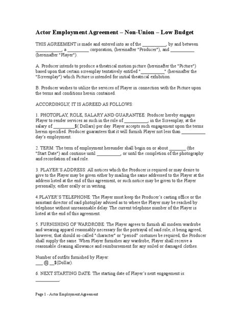 actors contract template free actor employment agreement non union low budget