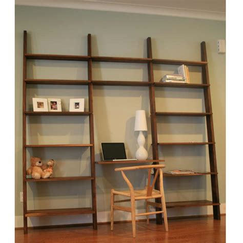 functional and stylish wall shelf ideas large wooden leaning ladder wall shelves with laptop desk