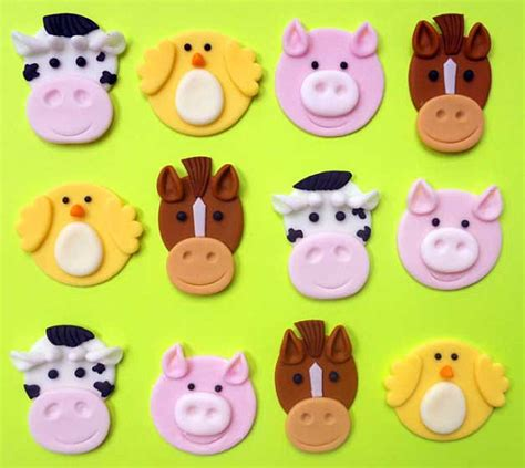 Cupcake Topper Farmer Animal 24 farm animal mini cupcake toppers reserved