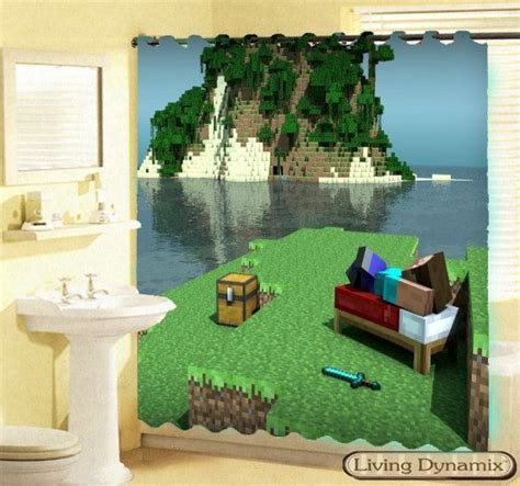 minecraft curtains new hot 2014 minecraft custom shower curtain mine craft