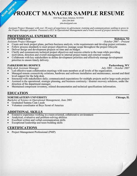 Resume Of Project Manager Civil Project Manager Resume Sle Resumecompanion Amg Ta The In