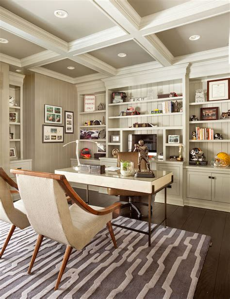 home office interior painted coffered ceiling transitional den library office garrison hullinger interior design