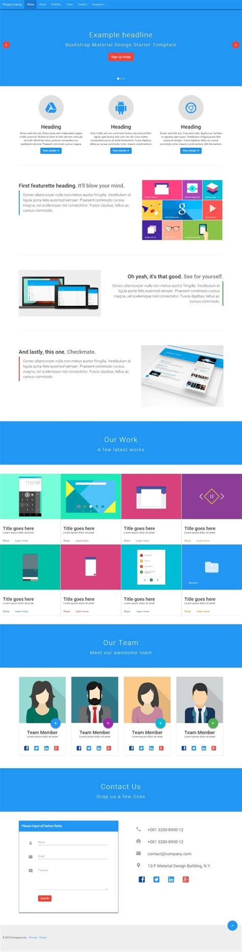 Bootstrap Card Layout Template by Bmd Bootstrap Material Design By Design Codecanyon