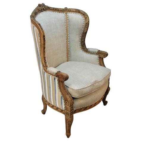 Bergere Armchair by Louis Xv Style Carved Wingback Bergere Armchair
