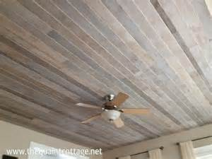 diy faux rustic plank ceiling via the quaint cottage