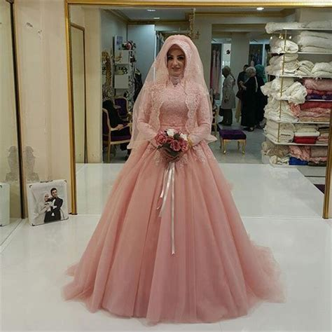 Kebaya Pengantin Wanita 153 discount blush pink muslim wedding dresses 2016 gown high neck sleeves plus size