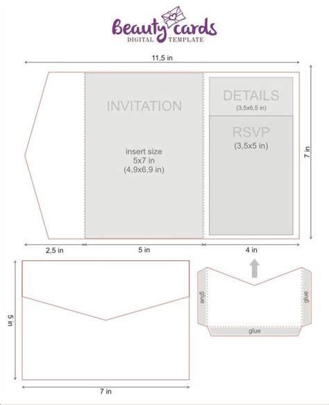 diy classic pocket wedding invitation template 5x7 tri fold for laser cutting svg dxf ai eps