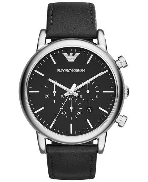emporio armani s chronograph matte black leather