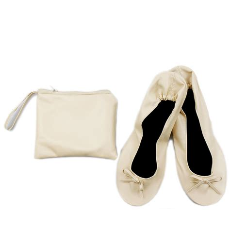fold away flat shoes beige 39 size roll up fold pumps flat after shoes