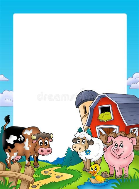 grange des animaux vue avec des animaux de grange et de ferme illustration