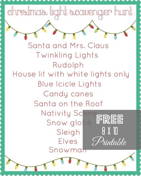 printable christmas light scavenger hunt christmas light scavenger hunt printable neighborhood